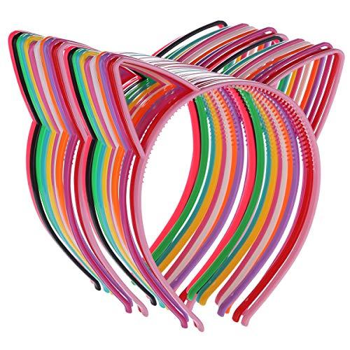 (24 Haarbänder mit Katzenohren, Kunststoff, Haarreifen für Partys, Kostüm, Party, Party, Hase, Katze, Schleife, Kopfbedeckung, Katzenzubehör für Frauen, Mädchen, tägliches Tragen und Party-Dekoration)