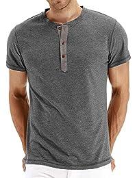19939d1d8 Olidarua Men's Long Sleeve T Shirts/Casual Plain Short Sleeve Henley Tee  Shirt Tops