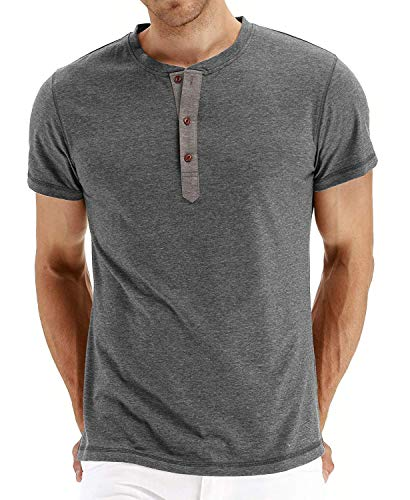 914166dcc Olidarua Men's Long Sleeve T Shirts/Casual Plain Short Sleeve Henley Tee  Shirt Tops