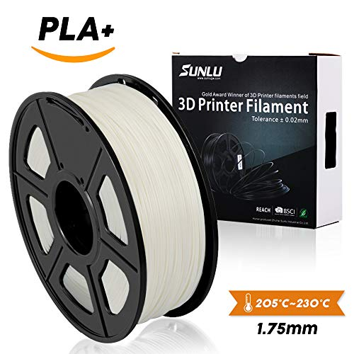SUNLU 3D Printer Filament PLA Plus White, PLA Plus Filament 1.75 mm,Lo