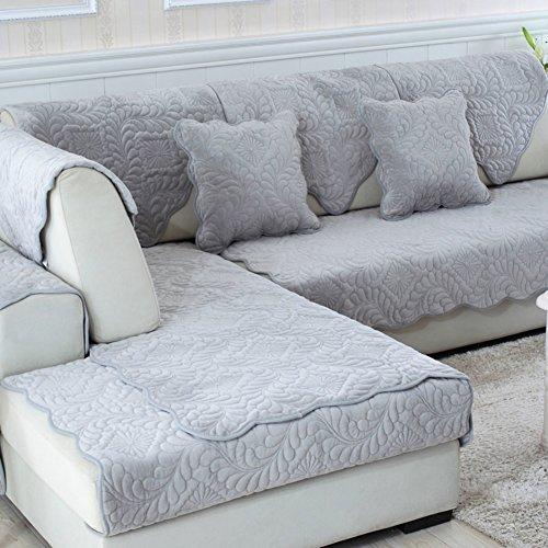 Tt&cc grigio asciugamani divano,super morbido e resistente tessuto peluche cuscino premium trapuntato mobili protector sofà copre divano slipcover-a 90x90cm(35x35inch)