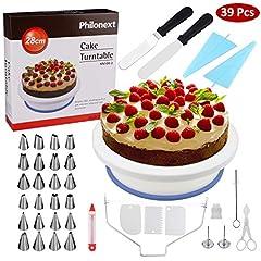 Idea Regalo - Piatto rotante per torta, Forniture per dolci tutto in uno con spatola, supporto girevole per torta, 24 punte in acciaio inossidabile, 2 spatole per glassare, 3 raschietti per dolci più lisci