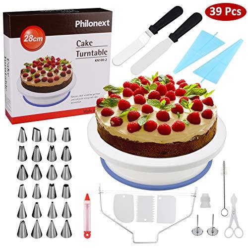 Mesa giratoria para decoración de tartas, de plástico, con una espátula para glaseado y glaseado suave, 24 boquillas inoxidables, 1 manga pastelera, 1 brocha de pastelería, 1 cortador de tartas, 1 lápiz pastelero, 3 espátulas de plástico rascadoras  ...