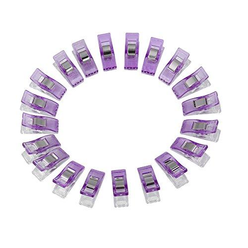 Asixx 20 Stück Stoffklammern, Wonder Clips Nähen Zubehöre Multi-Nähmaschinenhelfer Kurzwaren für Nähen, Quilting Clips, Häkeln, 6 Farben 27 x 10 mm(Purpur)