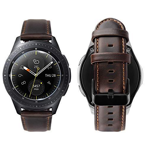 iBazal 20mm Armband Leder Ersatz Kompatibel Samsung Galaxy Watch 42mm Active/Huawei Watch 2/Gear S2 Classic/Gear Sport/Ticwatch 2/Garmin Vivoactive 3/Vivomove HR/Fossil Nokia Herren - Stilvoll Kaffee
