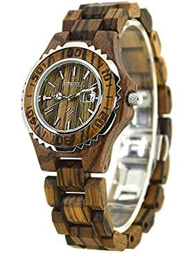 Bewell W100BL Damen Süß Hypoallergenic Uhren Analog Quartz Holzuhr Holzarmbanduhr(Zebra-Sandelholz)