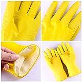 BEARCOLO Bearcolo 1 Paar Küchen-Geschirrspül-Wasch-Reinigungshandschuhe, wiederverwendbar, wasserdicht, Hauswirtschafts-Handschuhe, Wasch-Geschirr, Naturlatex, Haushaltshandschuh 31 * 13cm Gelb (B)