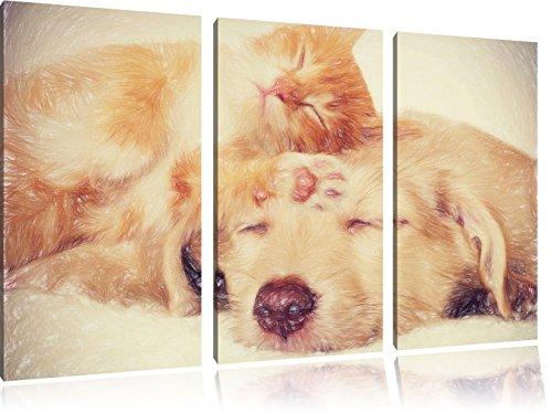 Gattino e cucciolo arte dormire effetto pastello 3 pezzi picture tela 120x80 immagine sulla tela, XXL enormi immagini completamente Pagina con la barella, stampe d'arte sul murale cornice gänstiger come la pittura o un dipinto ad olio, non un manifesto o un banner,