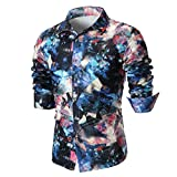 MRULIC Herren Shirt Kentkragen Langarm Shirts Businesshemd Freizeithemd Oktoberfest Karnevals kostüm(A-Blau,EU-46/CN-L)