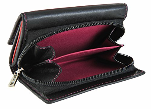 GOLUNSKI pelle Piccolo Nero/China Rosa Donna 9 Carta Portafoglio 6-006 - Nero / China Rosa, Small Nero / China Rosa