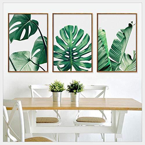 3 stücke von grünen pflanzen blatt leinwand malerei auf leinwand home decoration HD druck leinwand malerei wandkunst (kein rahmen / 40x60 cm x 3 stücke) -