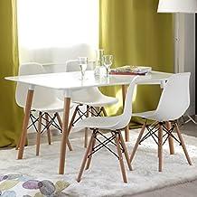 NAKURA - Conjunto de comedor TOWER con mesa lacada blanca y 4 sillas eames