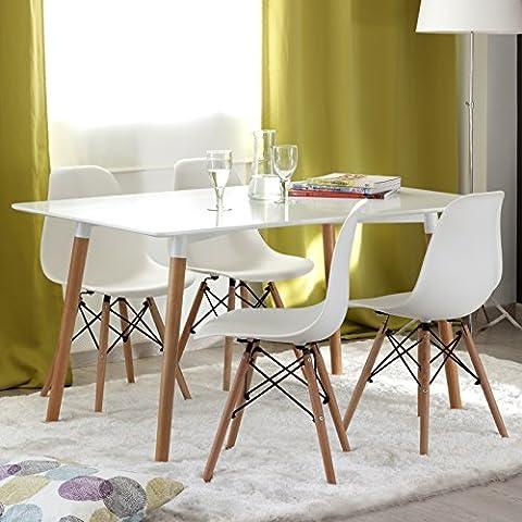 Conjunto de comedor TOWER con mesa de 140x90 lacada blanca y 4 sillas Eames