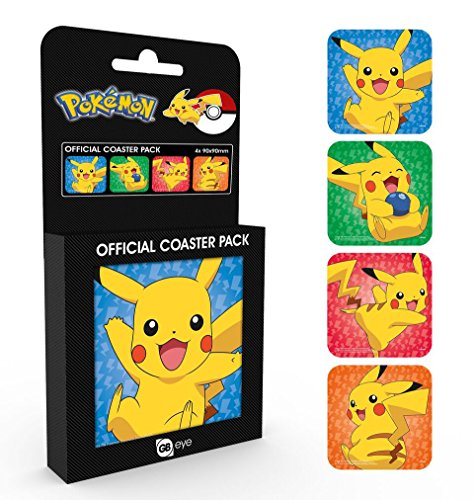 Set de 4 Posavasos Pokémon - Pikachu [Varios Motivos]