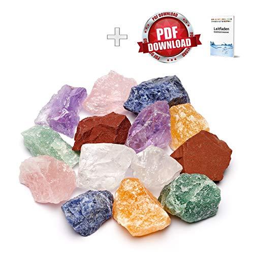 Große Wasserstein Mischung/Set NATUR mit den 7 beliebtesten Natursteinen | 300g Premium Edelsteine zur Herstellung von Edelsteinwasser