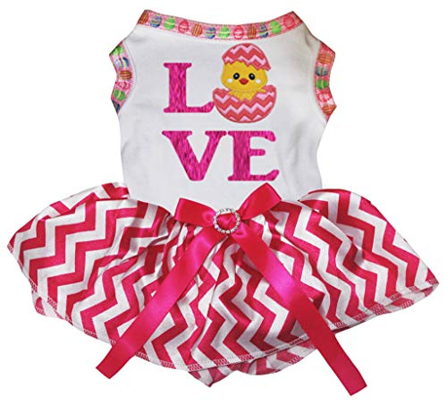 Kostüm Rock Küken - Petitebelle Love Chick Egg Hundekleid, mit pinkfarbenem Zickzackmuster