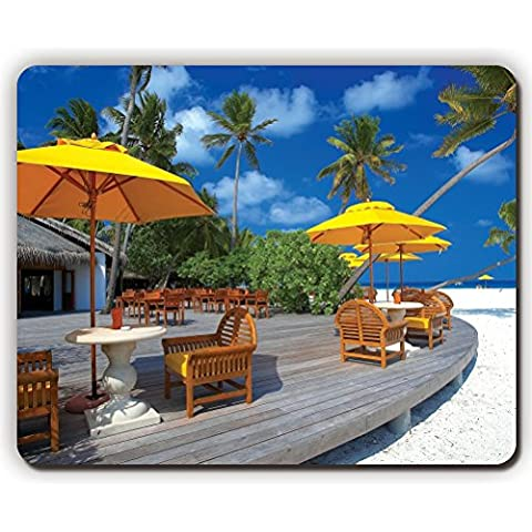 high quality mouse pad,clouds chairs maldives architecture beach,Game Office MousePad