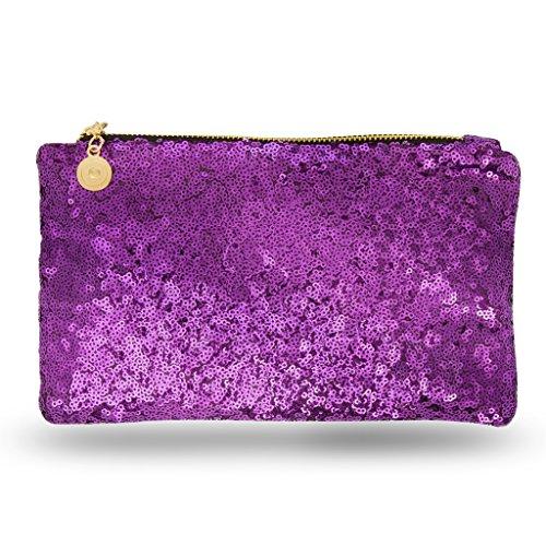 Lady Donovan - Clutch - Edle Abendtasche für Damen und Mädchen - Portemonnaie mit Reißverschluß - ideal für die Party oder Hochzeit - glitzernd Galaxi