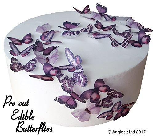 schöne lila Schmetterlinge essbares Reispapier/Oblatenpapier Kuchendekoration, Dekoration für Cupcake Kuchen Dessert, für Geburtstag Party Hochzeit Babyparty (S) ()