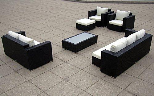 Baidani Gartenmöbel-Sets 10c00004.00002 Designer Lounge-Wohnlandschaft Daylight, 3-er Sofa, 2-er Sofa, 1 Hocker, 1 Couchtisch mit Glasplatte, 2 Sessel, Sitzauflagen, schwarz Bild 2*