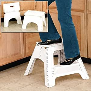 New Large White Easy 17 Quot Folding Stepstool Fold Away