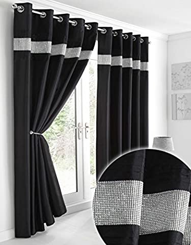 Kimberley Black Faux Silk Fully Lined Ready Made 66 x 72 Inch Drop Pair Curtains with Strips of Dazzling Diamante,