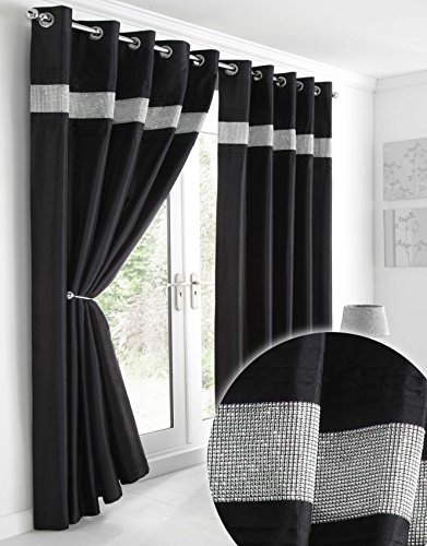 Kimberley Black Faux Silk Fully Lined 66 x 90 Inch Drop Pair Curtains with Strips of Dazzling Diamante, Black