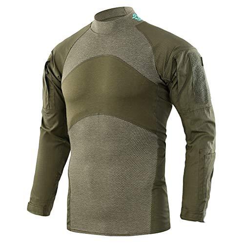KEFITEVD Herren Langarmshirt Slim Fit Outdoor Shirt Stifttaschen Baumwolle Shirt Taktisch Hemd Tactical Army T-Shirt Flecktarn Freizeithemd Oliv S (Etikett: L)