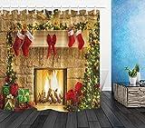 LB Natale Tende da Doccia con Ganci Camino,Calza di Natale Rossa,Albero Verde Tende da Bagno 180X200CM Lunghe Impermeabile Antimuffa Poliestere Casa Decorazione