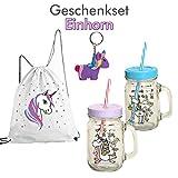 Geschenkset EINHORN / Trinkgläser / Fashion-Beutel / Schlüsselanhänger / Weihnachten / Weihnachtsgeschenk