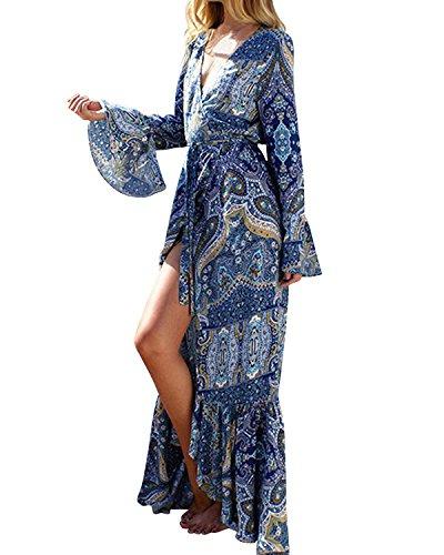 StyleDome Donna Vestito Abito Lungo Maxi Casual Elegante Cotone Cocktail Floreale Tribale Sexy Blu