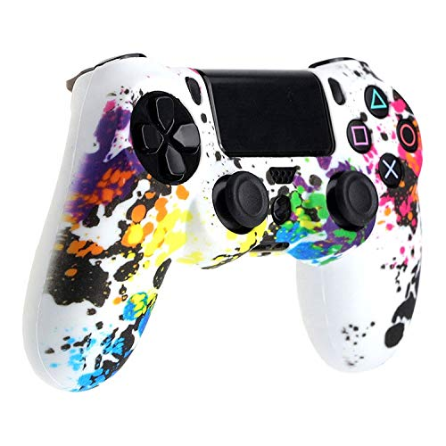 ReTrack PS4 Rainbow Silicone Cover Skin Protective Case for PS4 Controller Gaming PS4 Case (Rainbow White)