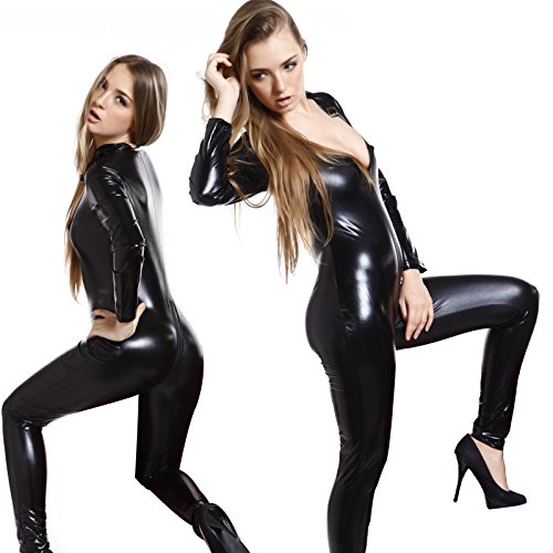 Sexy Gr.L Overall Lack Anzug WetLook Catsuit Bodys Dessous Nachtkleid Party Clubwear Catlady Kostuem