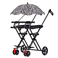 DZX Kids Twin Tricycle - Portable Outdoor Travel Folding Cart,C