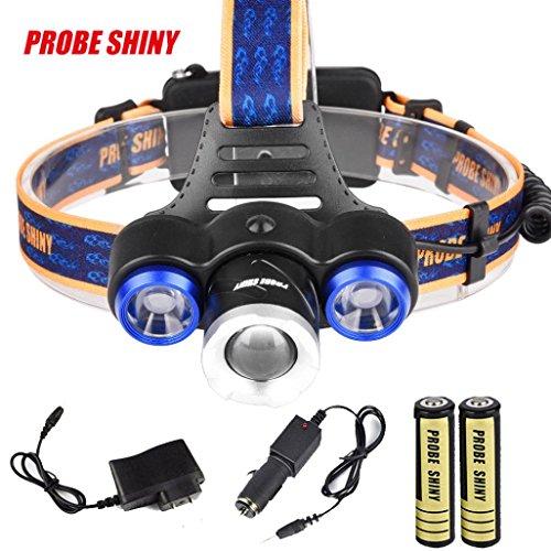 Sansee Scheinwerfer 8500Lm XML T6 + 2R5 3 LED Kopf Licht Fackel + Auto / USB Ladegerät + 2X18650 Scheinwerfer PROBE SHINY Scheinwerfer Set Zwei Kopf-notfall-licht