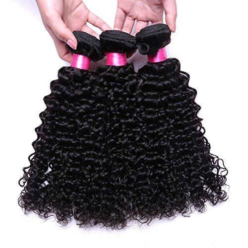 A & J 30,5 cm ~ 66 cm Extension de cheveux humains brésiliens vierges Jerry bouclés, 3 (Choix multiples) trames, Total (300 g 100 g chaque), 6 Grade A couleur naturelle