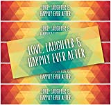 24Geometrische Wasserdicht Wasser Flasche Etiketten; 5,1cm Love, Laughter & Happily Ever After