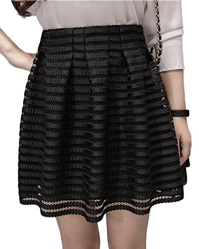 Minetom Damen Mädchen A-Linie Basic Solid Mini Röcke Mesh Skirt Mesh Rock Tüllrock Petticoat Knierock Faltenrock Unterrock Schwarz DE 42 (Seam Pencil-skirt)