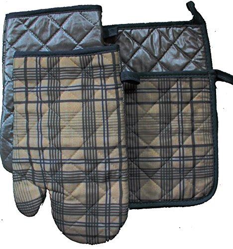4-tlg XL Set hochwertige Topflappen + Topfhandschuhe, bedruckt, beschichtet, gesteppt, Baumwolle, Pfannenhalter, Ofenhandschuhe, Grillhandschuhe (Dessin 3)