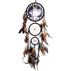 tankerstreet Atrapasueños con lobo Totem Impreso y plumas decoraciones de pared tapices de Novelty diseño de adorno (negro)