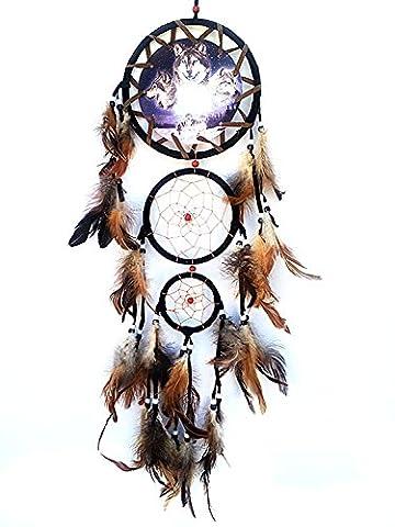 Tankerstreet Dream Catcher avec loup Totem Imprimé et plumes fantaisie Décoration murale tentures Ornement décoratifs Art (Noir)