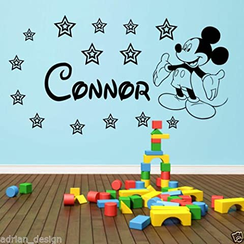 Mickey Mouse personnalisé Sticker mural n'importe quel nom en style Disney zz1, noir, -Small -SIZE 60cm x 20cm (24