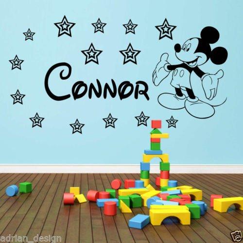 """Topolino adesivo da parete personalizzato adesivo qualsiasi nome stile Disney ZZ1, Baby Blue, -Small -SIZE 60cm x 20cm (24"""" x 8"""")"""