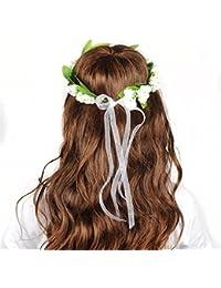 HanLuckyStars Guinalda Flores Cabello Diadema Corona Flores para Cabello Garland Halo Accesorios para el cabello Elegante Decoradas con Flores de la Venda de Muñeca para Festivales de boda Novia Velada