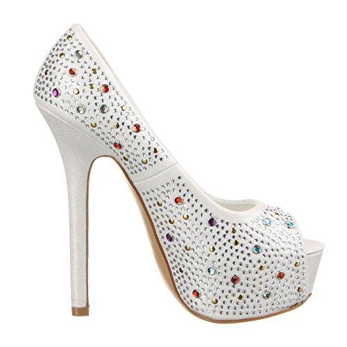 Ital-f262, escarpins femme Blanc - Blanc
