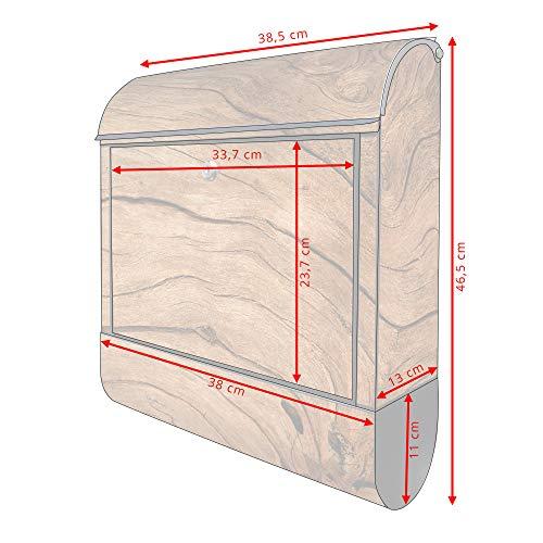 banjado – Schwarzer Design Briefkasten Zeitgsfach 38x42x11cm Wandbriefkasten mit Motiv Trockenes Holz, Briefkasten schwarz ohne Standfuß - 5