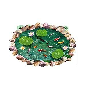 Winhappyhome realistici Lotus Pond pesci rossi rimovibili decalcomanie a terra Adesivi per soggiorno Bagno Nursery