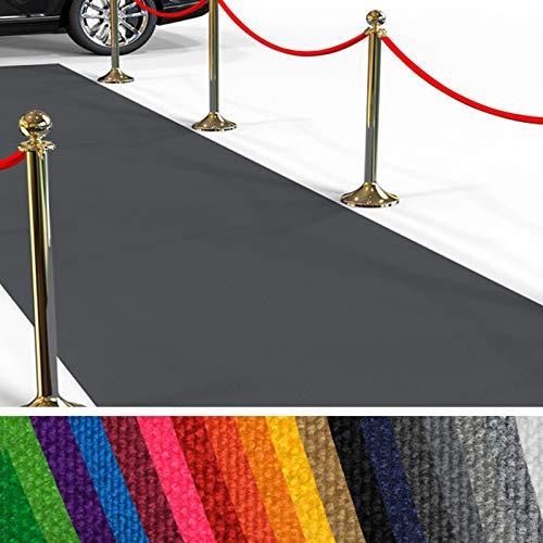etm Hochwertiger Messeteppich Meterware | Rollteppich VIP Eventteppich, Hollywood Läufer, Hochzeitsteppich | 18 Farben in 23 Größen | Anthrazit - 100x250 cm