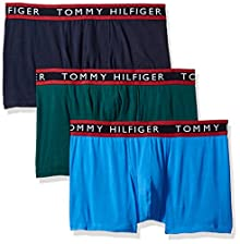 ea01a6a9fa40 Tommy Hilfiger Men's Underwear 3 Pack Cotton Stretch Trunks, Park Green,  Small