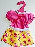 Johntoy Baby Rose Babypuppe Puppenkleidung Puppen-kleid Größe 40 - 45 cm passend für viele Marken Kleid Farbe rosa mit gelber Rock und pinkfarbene Schleifen